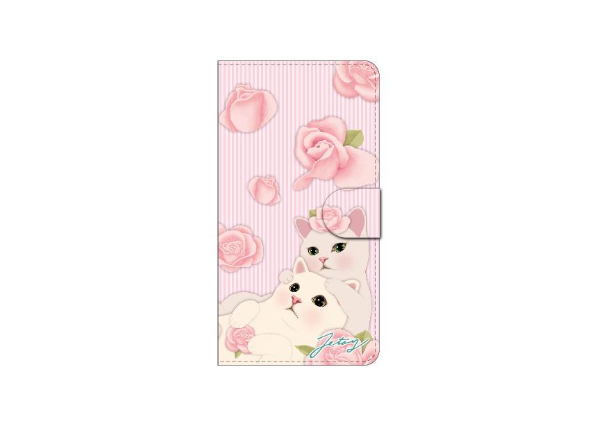 """<div class=""""red"""">【猫のスマホケース 手帳型 カスタム<br> 受注会】開催中!</div><br>ピンクのお花に囲まれて<br>とってもロマンティックな時間を過ごす<br>白猫カップルがキュートな<br>限定スマホケース♪<br>※商品の写真および画像はイメージです。<br>実際の商品とは異なる場合があります。"""