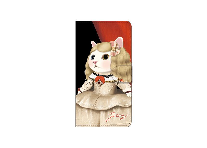 "<div class=""red"">【猫のスマホケース 手帳型 カスタム<br> 受注会】開催中!</div><br>世界的な名画<br>【マルガリータ王女】に扮した<br>白猫がとても個性的な<br>デザインのスマホケース♪<br>本物の肖像画のような美しいデザインは<br>人目をひくこと間違いなしです☆<br>※商品の写真および画像はイメージです。<br>実際の商品とは異なる場合があります。"