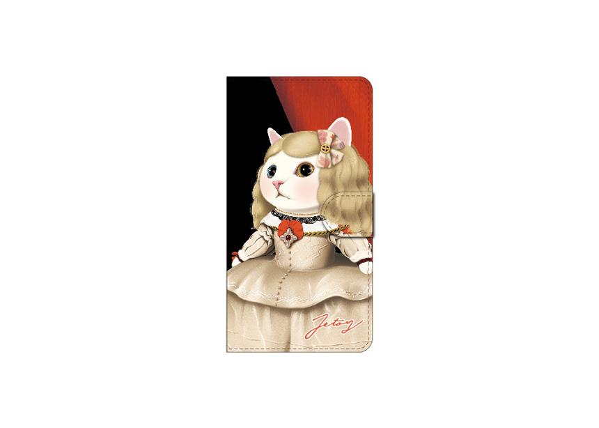 """<div class=""""red"""">【第2回!<br> 猫のスマホケース 手帳型 カスタム<br> 受注会】開催中!</div><br>大人気の名画シリーズの1つ<br>【マルガリータ王女】のスマホケース♪<br>白いドレスを身に付けた<br>ブロンドヘアーの白猫ちゃんが<br>とても個性的です(^^)<br>※商品の写真および画像はイメージです。<br>実際の商品とは異なる場合があります。"""