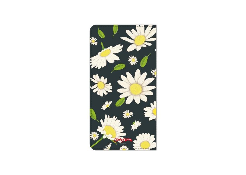 裏面にもたくさんのデイジーの花が◎<br>ブラックベースのため<br>花柄だけれどもガーリーになりすぎない<br>大人っぽいデザインに仕上がっています(^^)<br>※商品の写真および画像はイメージです。<br>※実際の商品とは異なる場合があります。