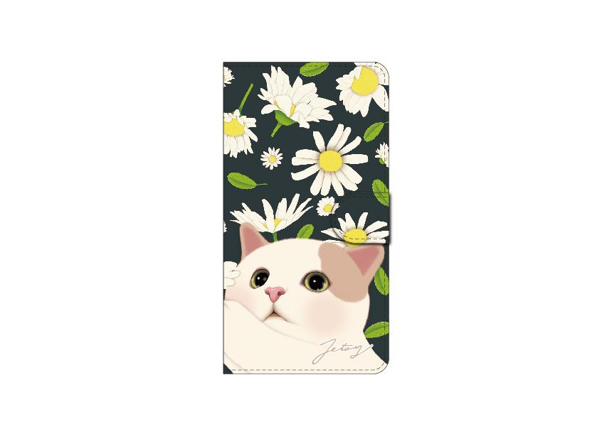 """<div class=""""red"""">【第2回!<br> 猫のスマホケース 手帳型 カスタム<br> 受注会】開催中!</div><br>とてもチャーミングな白茶猫と<br>美しいデイジーの花が印象的な<br>おしゃれで愛らしいスマホケース♪<br>※商品の写真および画像はイメージです。<br>実際の商品とは異なる場合があります。"""