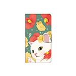 猫のスマホケース 手帳型 カスタム 白黒イエローフラワーL