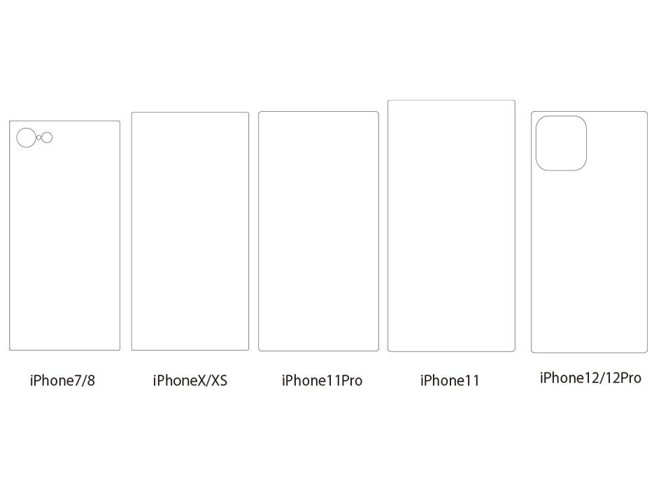 サイズは5種類!<br>「iPhone7/8」「iPhoneX/XS」<br>「iPhone11」「iPhone11Pro」「iPhone12/12Pro」を<br>ご用意しました♪