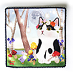 猫のタオルハンカチ 白黒フラワー