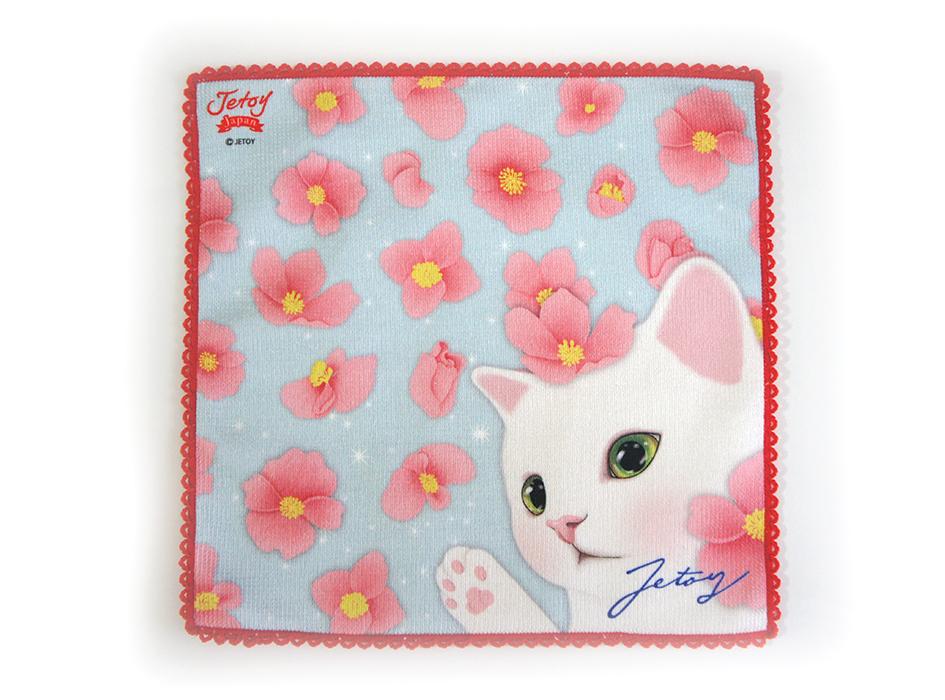 白猫とベゴニアのピンク、<br>全体の水色がキレイにマッチ◎