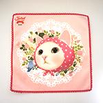 猫のタオルハンカチ ピンクずきん
