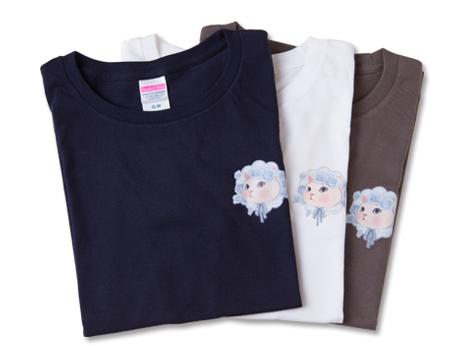 猫のワンポイントTシャツ ブルーローズ