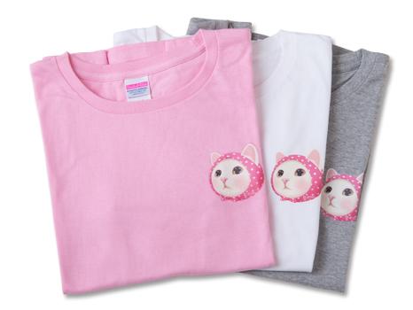 猫のワンポイントTシャツ ピンクずきん ホワイト/M