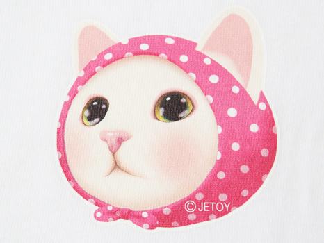 ワンポイントのイラストは<br>ピンクずきん猫のかわいらしさが際立ちます♪<br>(※写真は別のカラーのものです。)