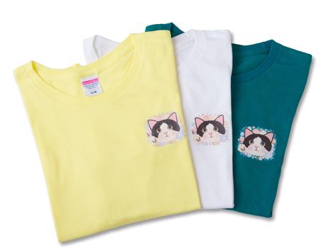 猫のワンポイントTシャツ 白黒 レモン/M