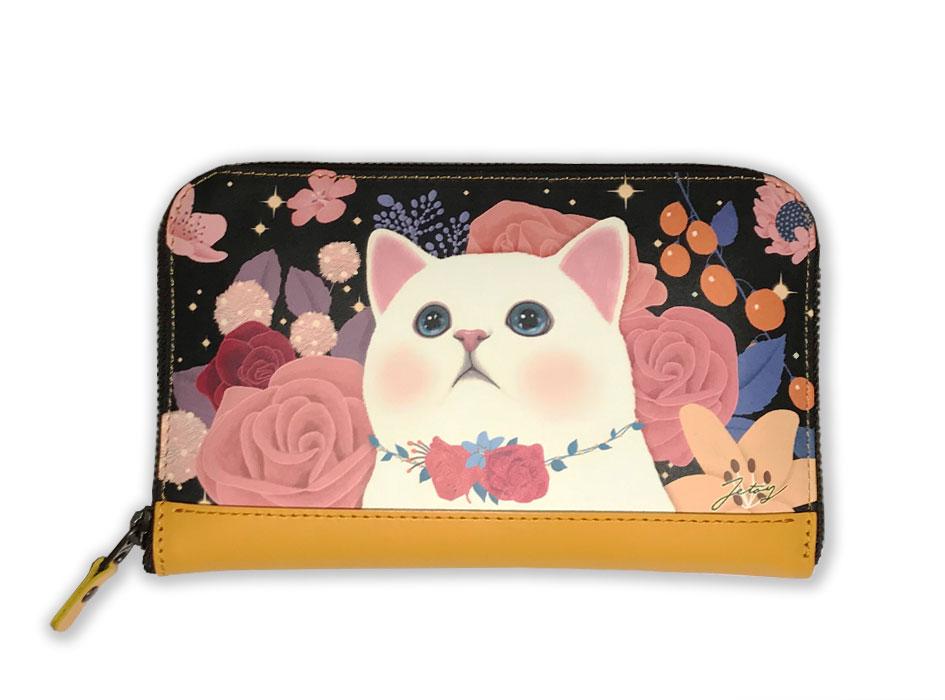 猫猫の長財布2 ローズブラック