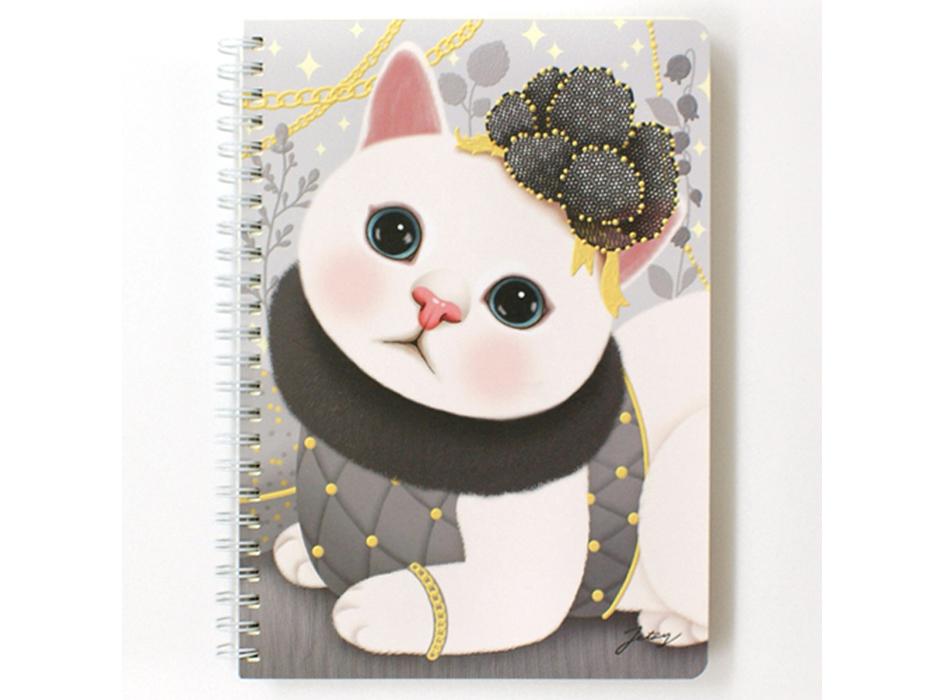 猫のリングノート A5 グレイ