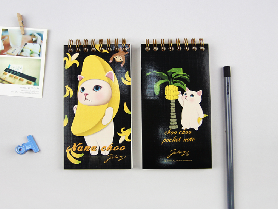 大人気!バナナ猫のキュートなイラストが<br>表紙のノートです♪<br>裏表紙のバナナを脱いだ白猫にも注目!