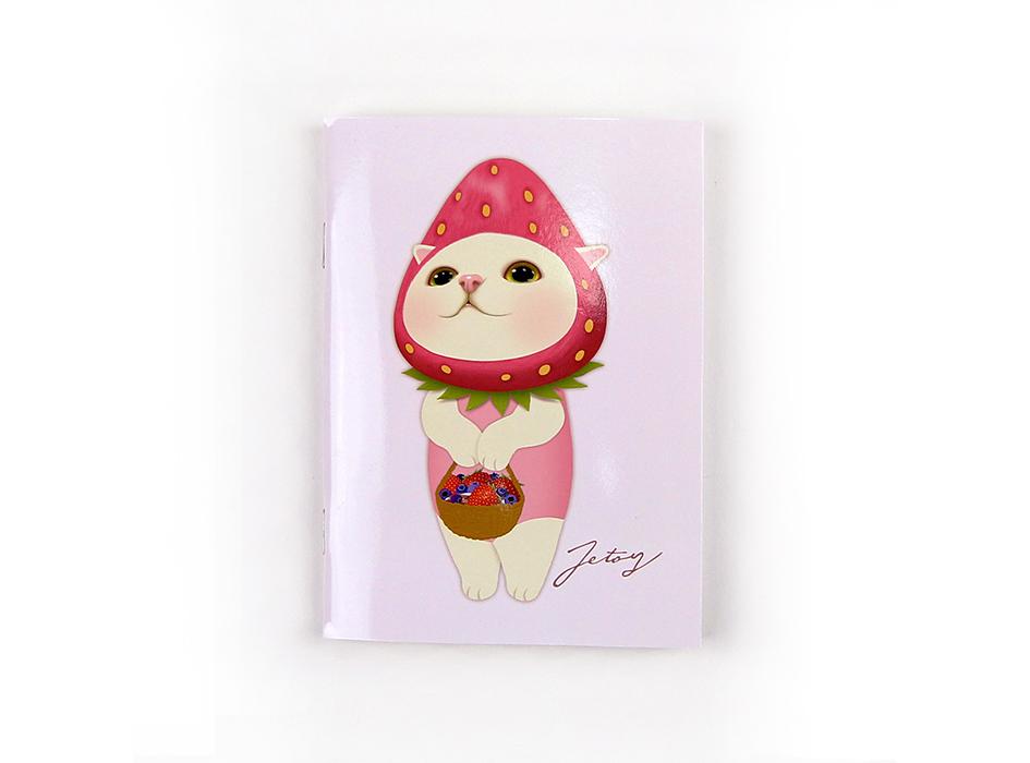表紙は、パステルカラーのピンクベースに<br>かわいらしい、いちご猫が描かれた<br>キュートなデザイン♪