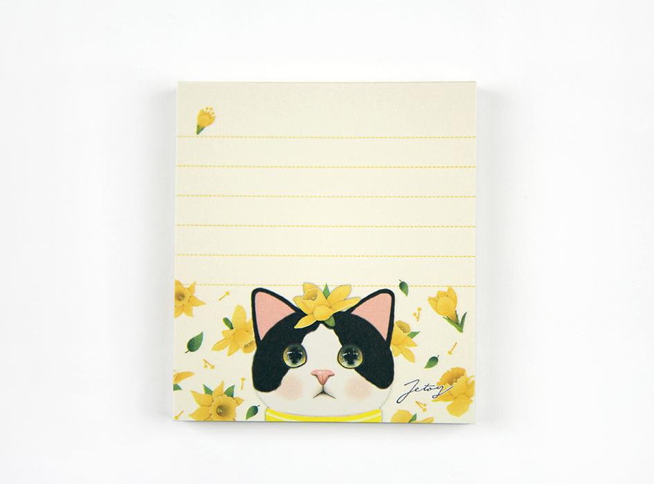 猫のメモパッド3 白黒イエローフラワー