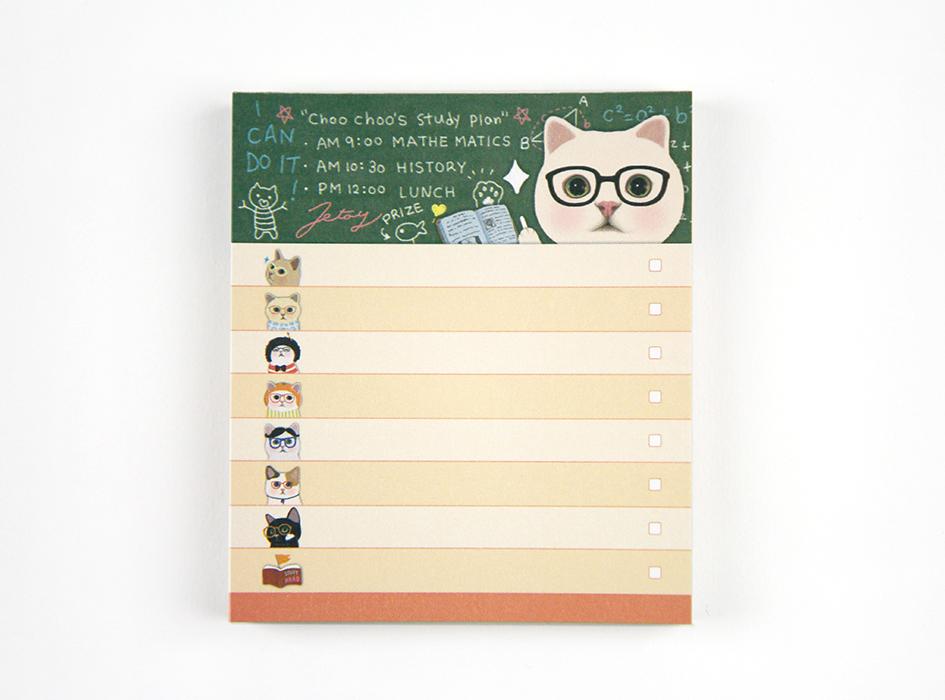 猫のメモパッド3 メガネ