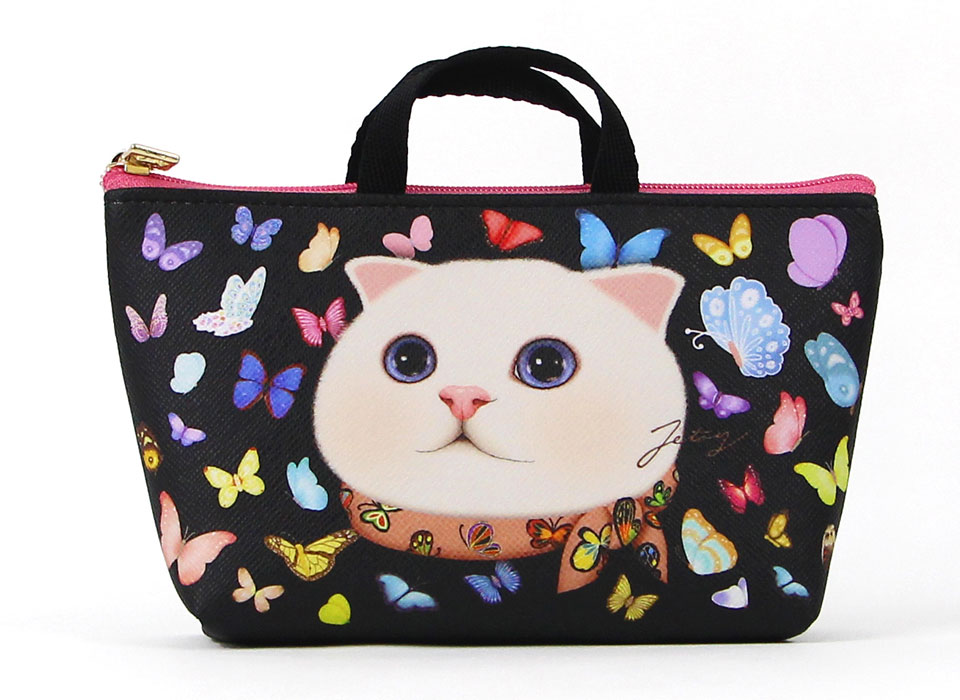 大人気のスコティッシュフォールドを描いたイラスト!<br>猫ちゃんを取り巻く美しいバタフライも印象的