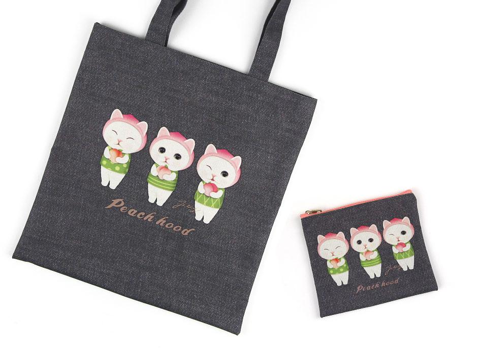 """同柄の【<a href=""""http://www.choochoo.jp/i/BG133"""" target=""""_blank"""">猫のポリコットントート ピーチ</a>】とセットで持ってもすごくステキです♪<br>"""