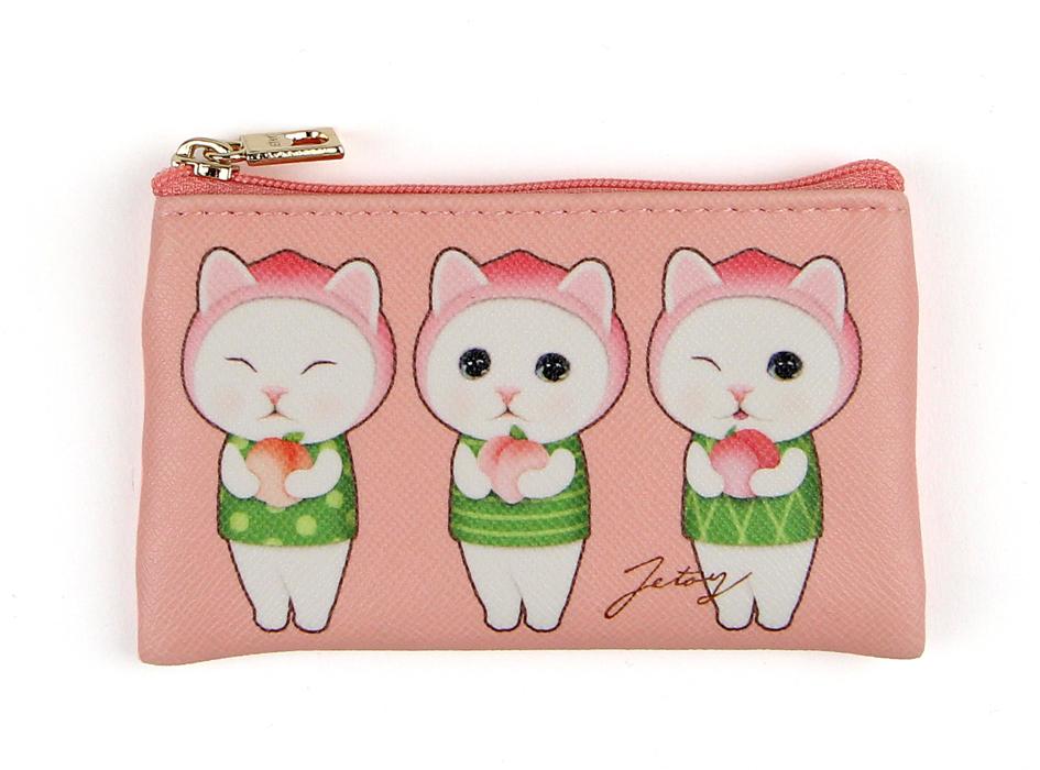 かわいらしいピンク色をベースに、<br>表情違いのピーチ猫が描かれたデザイン♪