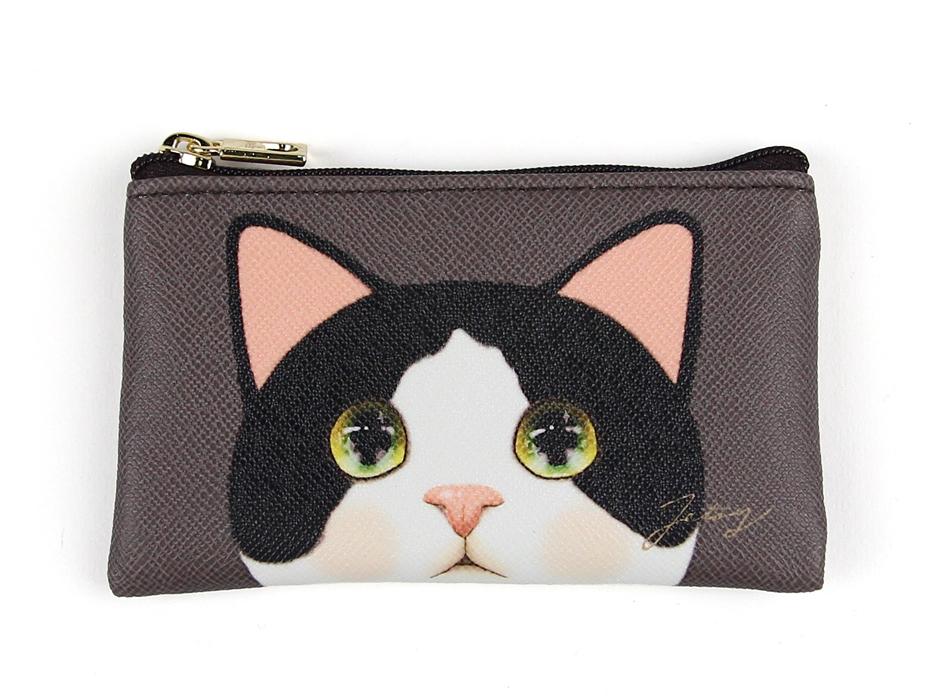 猫のスリムミニポーチ 白黒