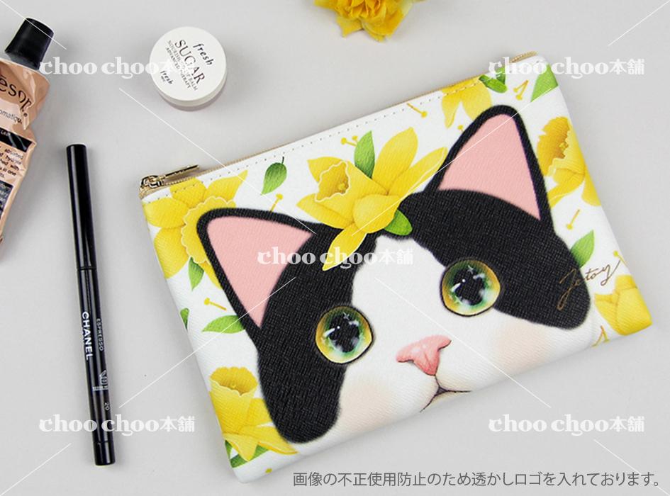 華やかなイエローのお花と<br>大きく描かれたウルウルした瞳の<br>かわいい白黒猫がとっても<br>魅力的なスリムポーチ♪