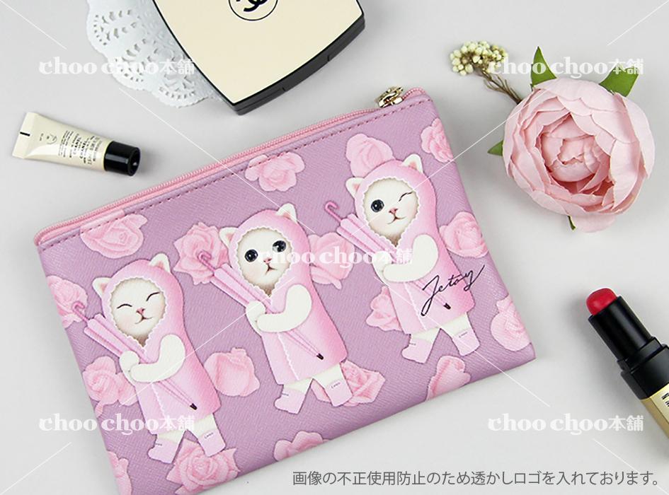 ピンクカラーをメインとした<br>大人かわいいスリムポーチ◎<br>無邪気な表情の白猫ちゃんに<br>癒されそうです♪