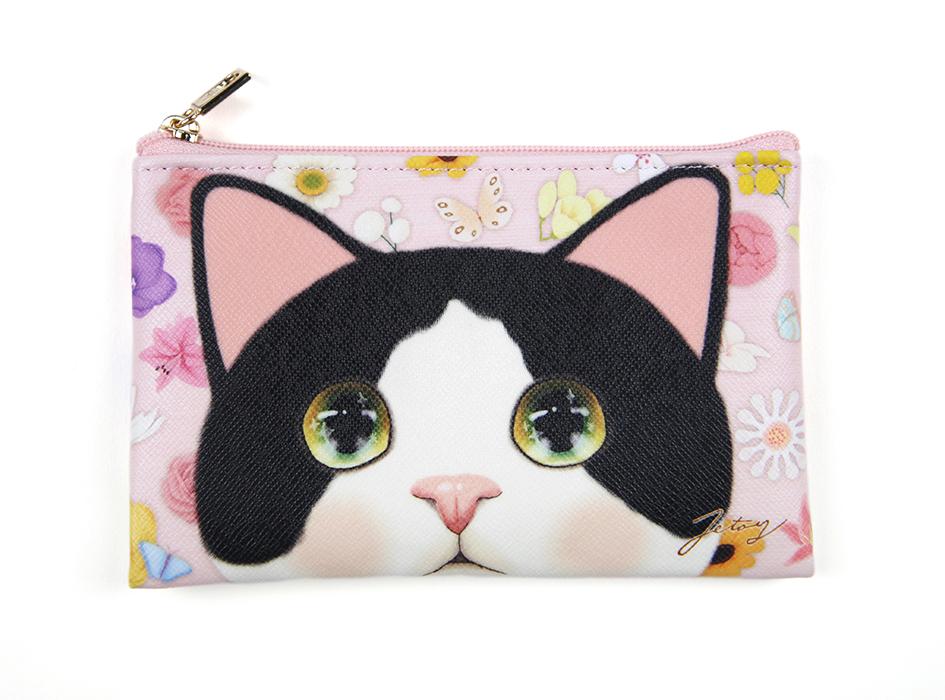 猫のスリムポーチS2 白黒