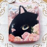 【ワケあり】猫のカード札入れ プレミアム 黒