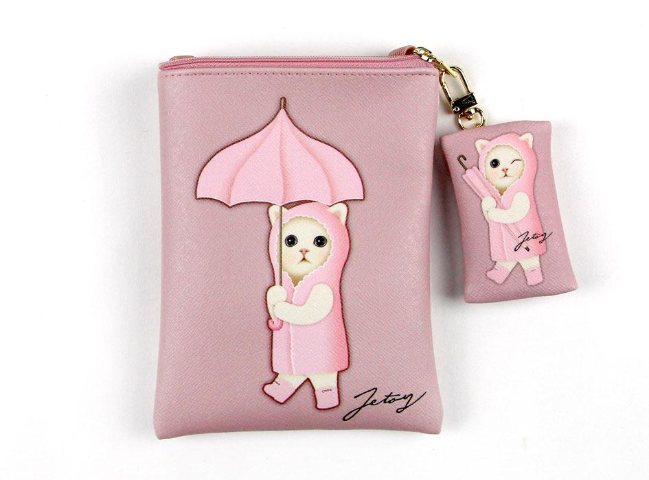 ピンクの傘をさした雨ふり猫と、<br>ウインクしているあめふり猫?<br>どちらのイラストもかわいいポシェットです♪