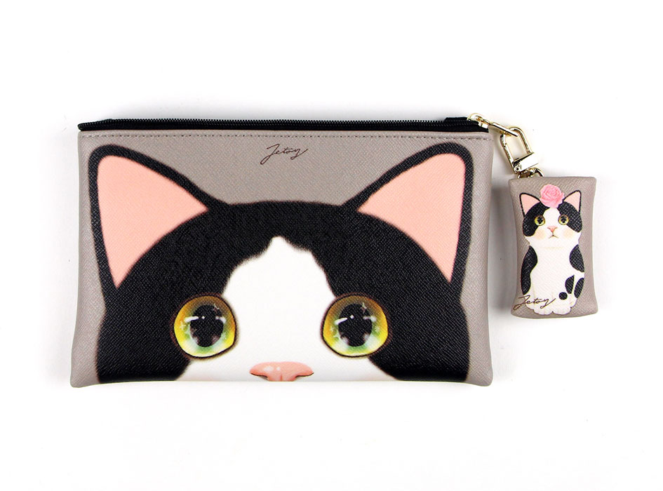 猫のチャーム付きミニポシェット 白黒